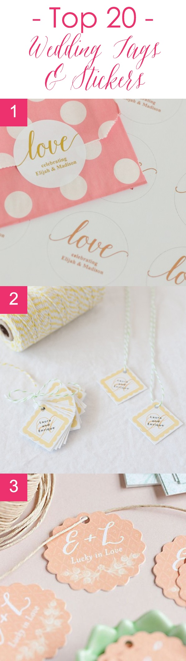 Top 20 Wedding Stickers & Tags | Beau-coup