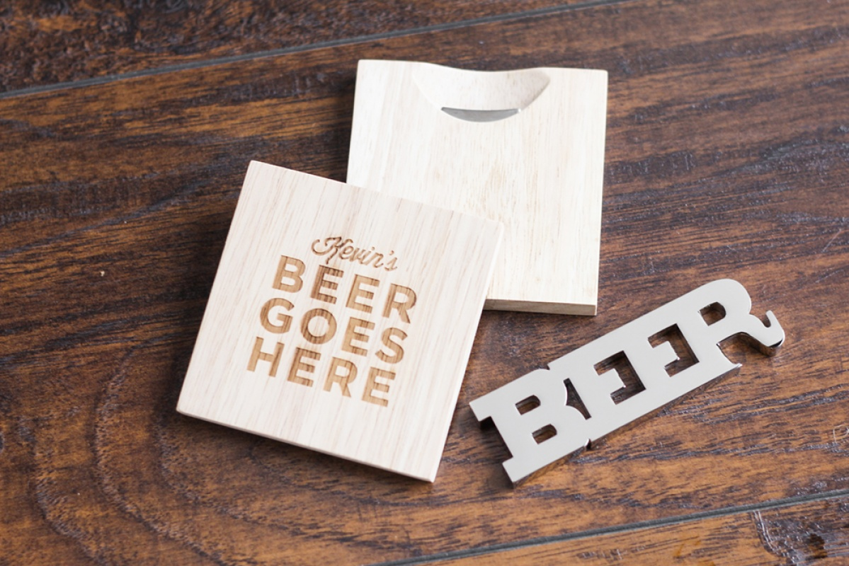 Groomsmen gift ideas including personalized wood coaster with a bottle opener and a beer bottle opener.