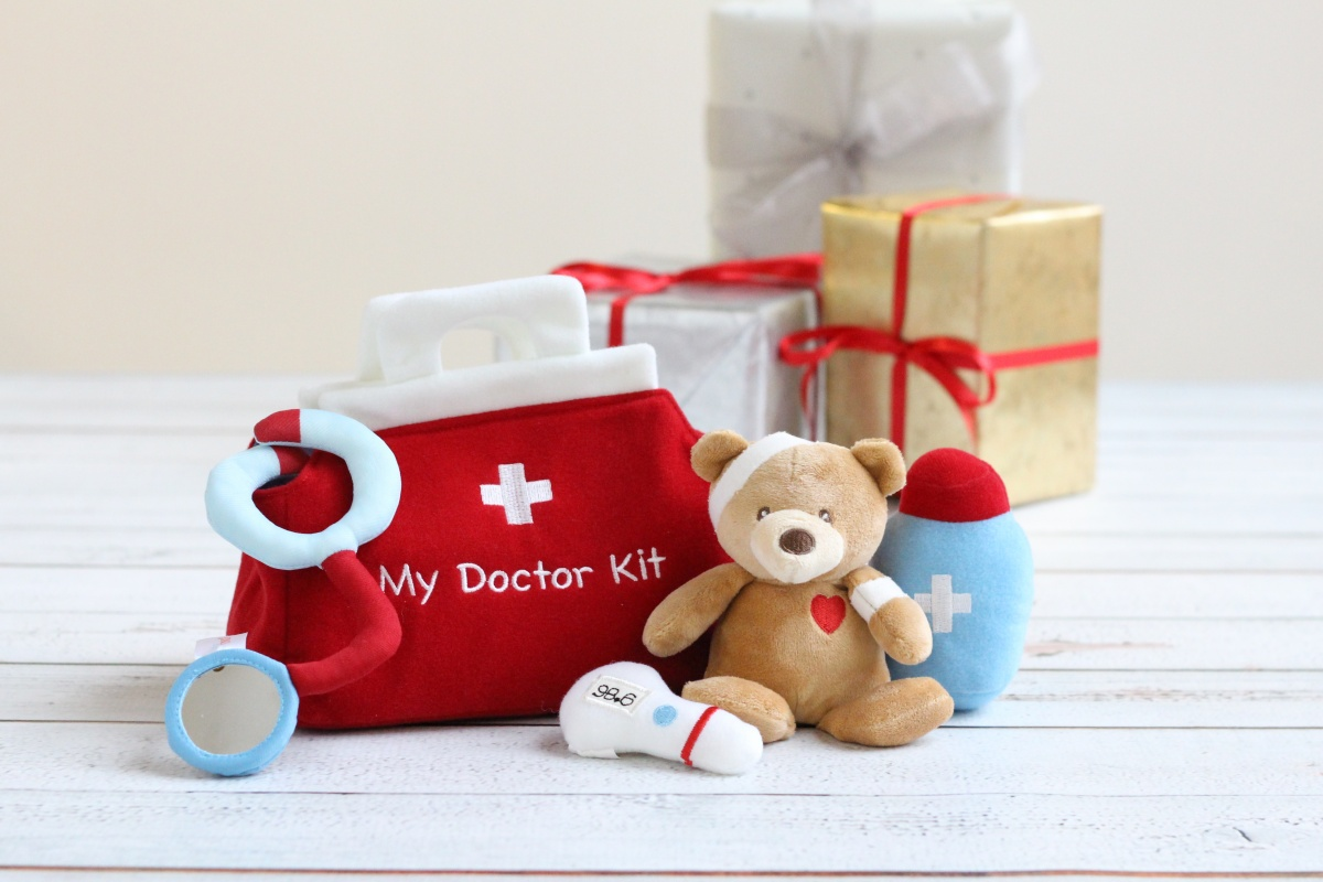 A baby shower gift idea called my first doctor kit, perfect for the baby of a doctor or nurse.