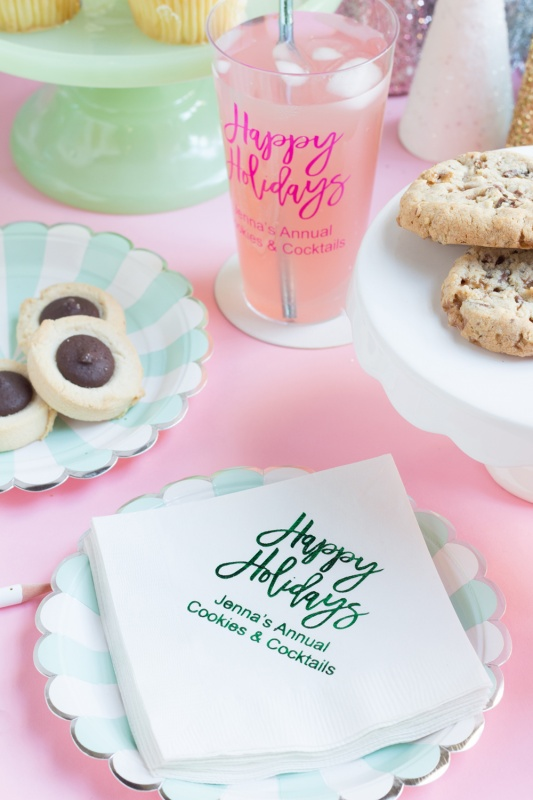 Personalized holiday napkins and personalized holiday cups for a pink Christmas or kitsch Christmas.