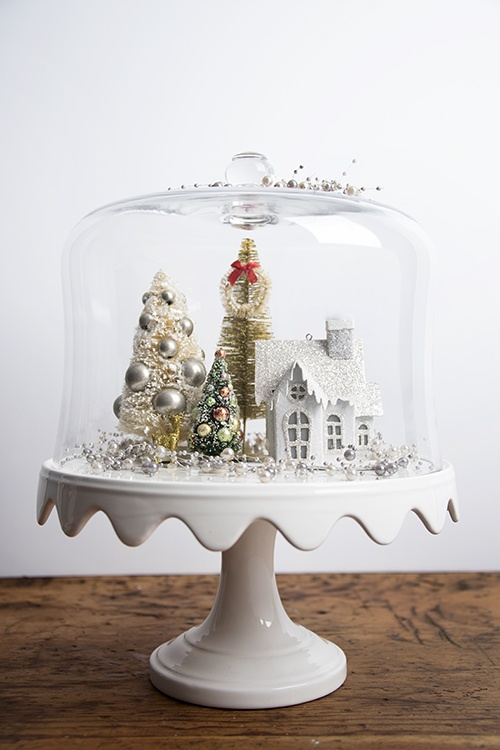 christmas cake stand with village