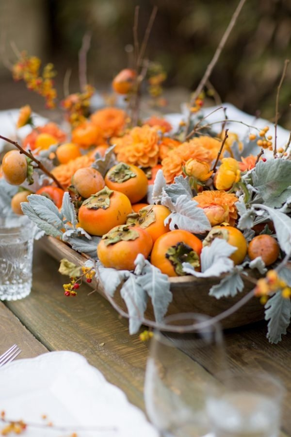 persimmon centerpiece as a thanksgiving centerpiece
