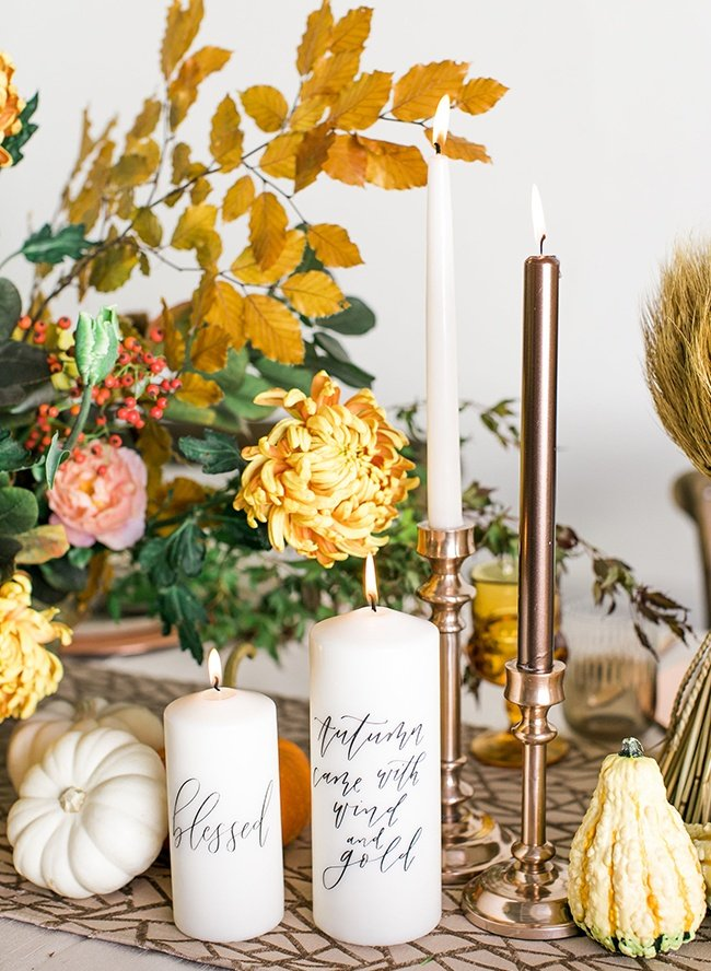 candles as a thanksgiving centerpiece