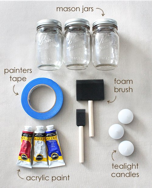 Diy color blocked mason jars for 4th of july beau coup blog for Can you paint candles with acrylic paint