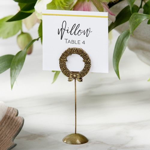 Gold Wreath Place Card Holder