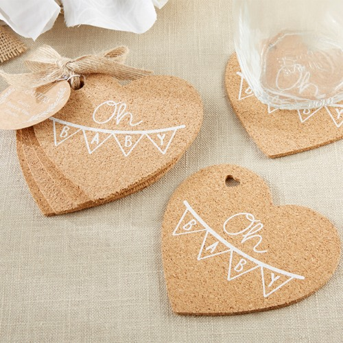 Oh Baby Rustic Heart Cork Coaster