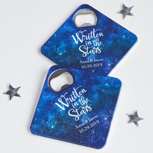 Personalized Written in the stars Coaster Bottle Openers