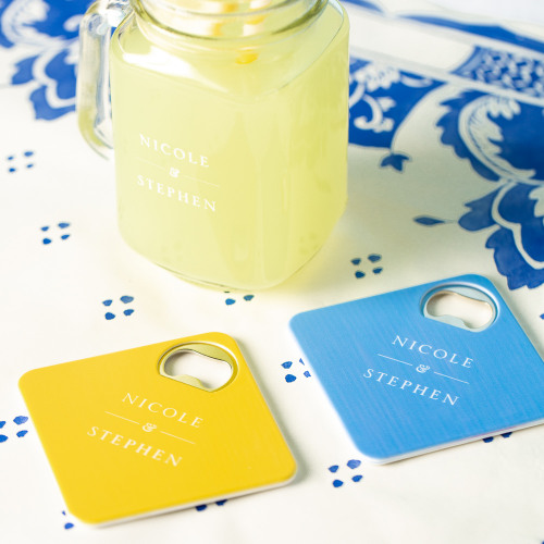 Personalized Citrus Garden Coaster Bottle Openers