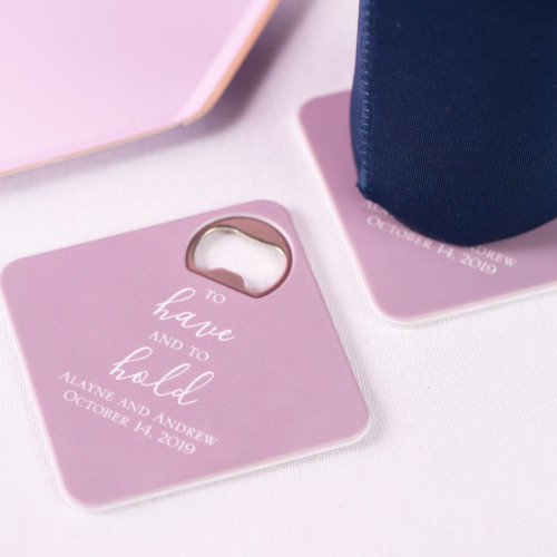 Personalized To Have & To Hold Coaster Bottle Openers