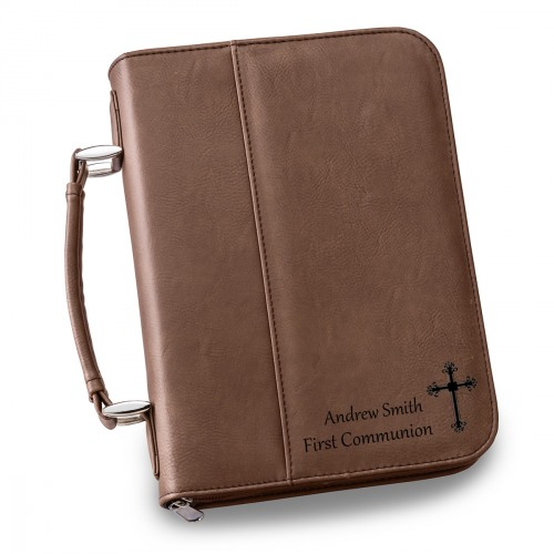 Large Dark Brown Personalized Bible Case