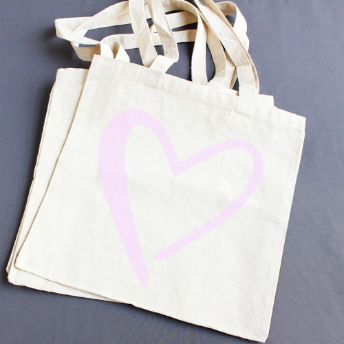 Heart Canvas Shopping Tote