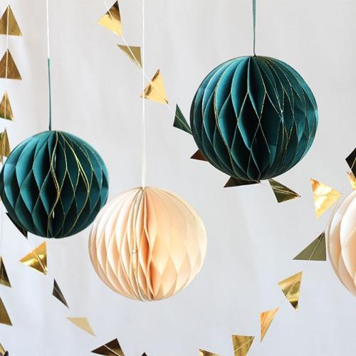 Teal & Cream Glitter Honeycomb Ball Decorations