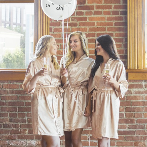 Personalized Blush Luxury Satin Robes
