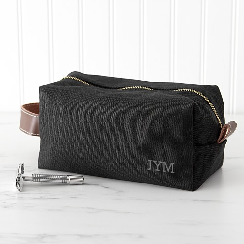 Personalized Men's Waxed Canvas & Leather Dopp Kit- Black