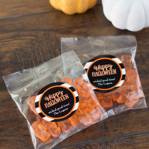 Personalized Halloween Champagne Gummy Bear Packets