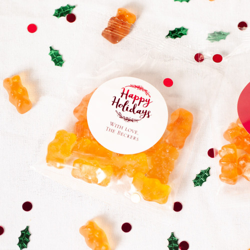 Personalized Happy Holiday Champagne Gummy Bear Packets