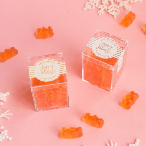 holiday champagne gummy bear boxes