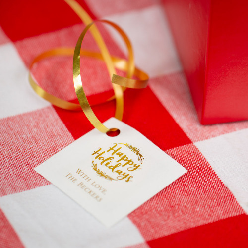 Personalized Happy Holiday Metallic Foil Square Favor Tags and Labels