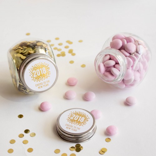 Personalized New Years Metallic Foil Candy Jars