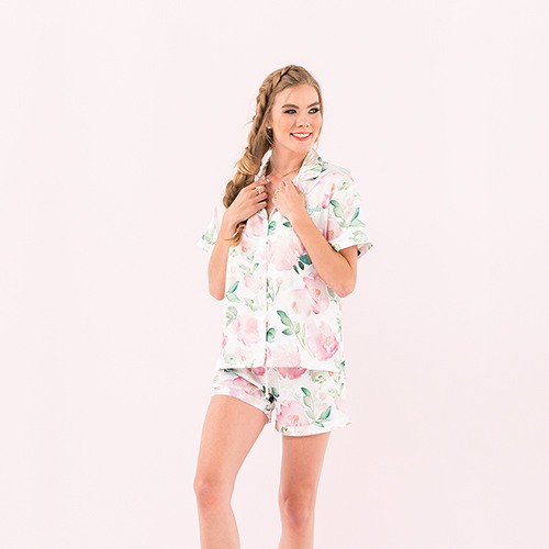 Watercolor Floral Pajama Short Set