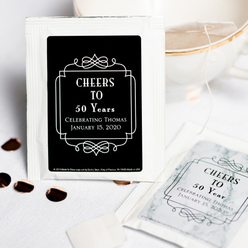 Personalized Vintage Cheers Birthday Party Tea Bags