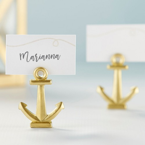 Gold Nautical Anchor Place Card Holder