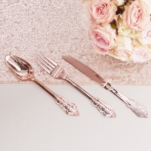 Rose Gold Plastic Cutlery