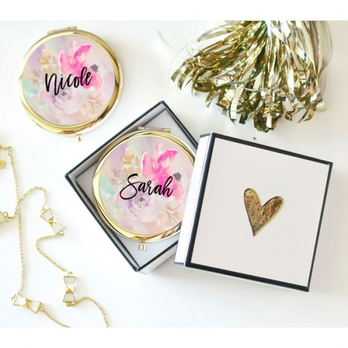 Personalized Floral Compact