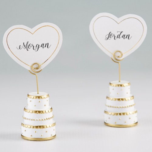 Gold Wedding Cake Place Card Holder