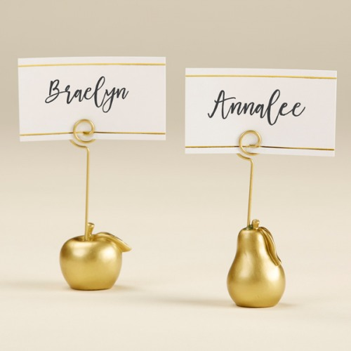 Gold Apple and Pear Place Card Holder