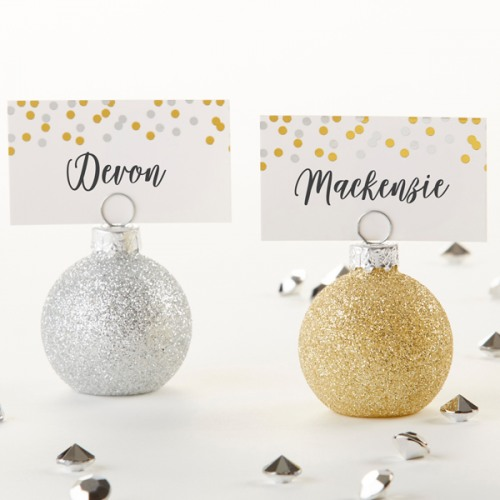 Glitter Ornaments Place Card Holder