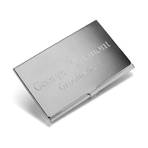 Personalized Silver Business Card Holders