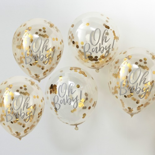 Gold Oh Baby Confetti Balloons