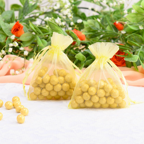 Sheer Organza Favor Bags yellow