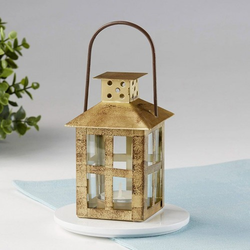 Distressed Small Lantern - Gold