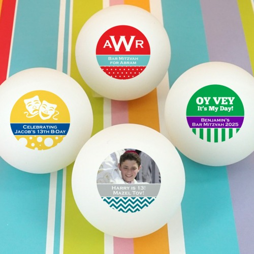 Personalized Bar Mitzvah Ping Pong Ball Favors