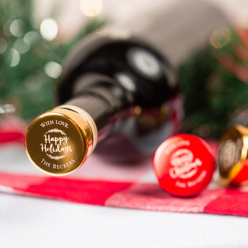 Personalized Happy Holiday's Party Aluminum Top Bottle Stoppers