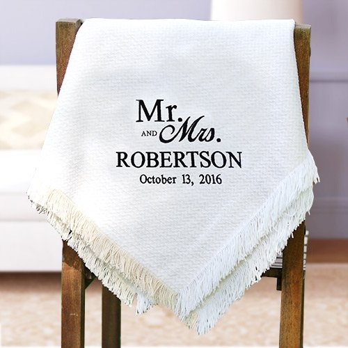 Personalized Embroidered Wedding Afghan