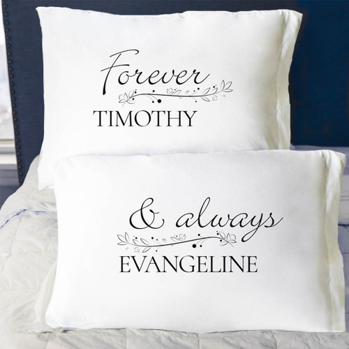Personalized Forever and Always Couples Pillowcase Set