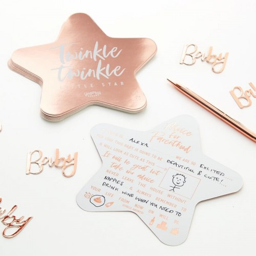Rose Gold Foiled Baby Shower Advice Cards