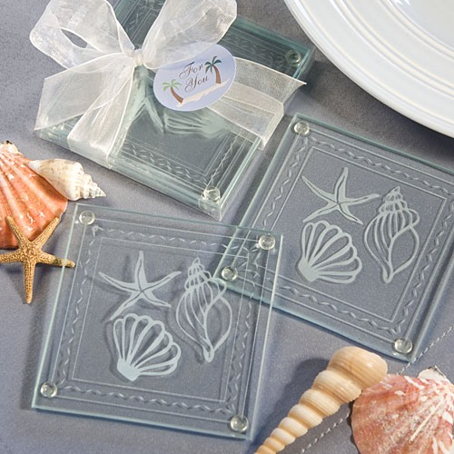 Beached Themed Glass Coaster Favors