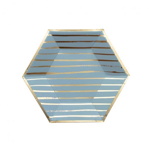 Blue Striped Small Paper Plates