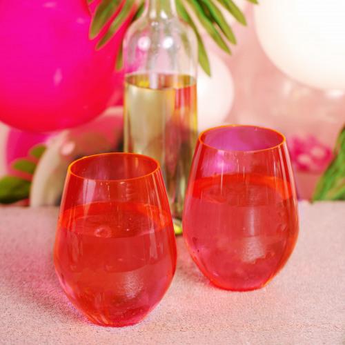 Jumbo Acrylic Stemless Wine Glass Let's Flamingle