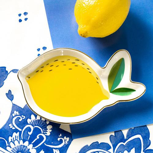 Lemon Shaped Ceramic Trinket Tray Citrus Garden
