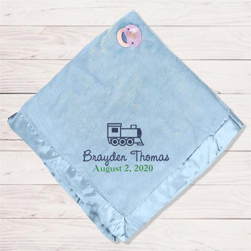 Embroidered Fleece Baby Blanket- blue
