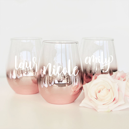 Personalized Rose Gold Stemless Glass