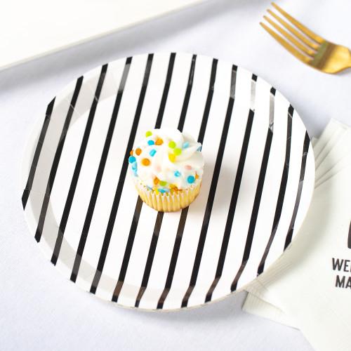 Femme Striped Dessert Plate Oh Boy