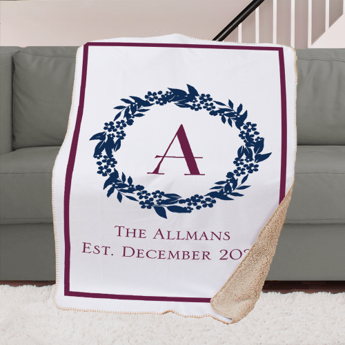 Personalized Wedding Sherpa Lined Sublimated Throw