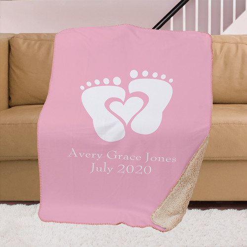 Personalized Baby Sherpa Lined Sublimated Throw