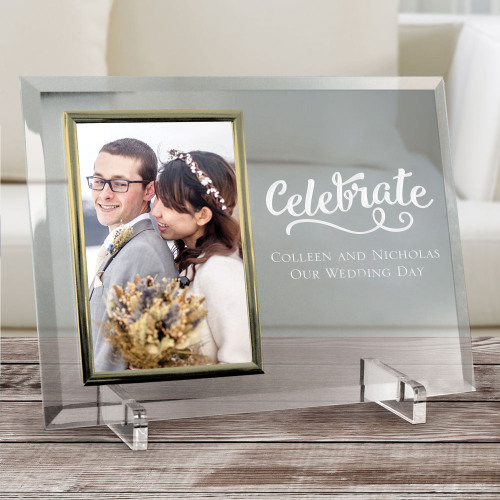 Personalized Beveled Gold Trim Glass Frame